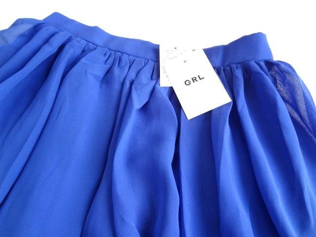 新品 GRL グレイル 青 シフォン 膝丈 フレア スカート M < ブランドの
