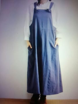 **ohana*コットンリネン サロペットスカート 新品ブルー