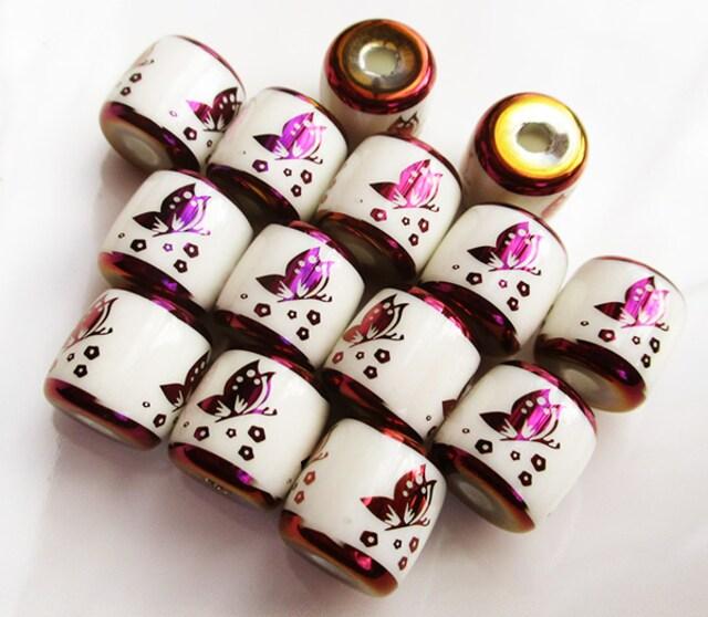 蝶柄ガラスビーズ6個バレル型 紫