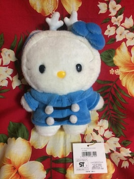 新品未使用☆キティちゃんぬいぐるみ☆珍しい青色トナカイ☆