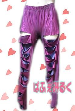 L37☆めっちゃCOOL☆メタリックパープルのダメージスパッツ