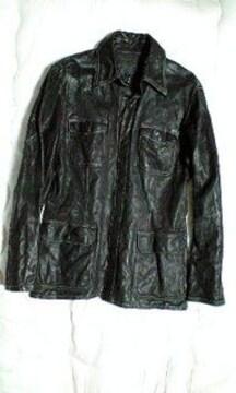 新品イサムカタヤマバックラッシュ皺加工カウレザーM65ジャケット