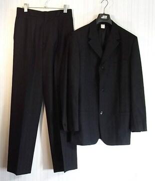 size48☆良品☆ジャンニヴェルサーチ 3釦スーツ ブラック