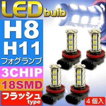 18連LEDフォグランプH8/H11フラッシュtypeホワイト4個 as42-4