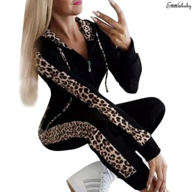 新品☆豹柄ライン♪上下セットアップ ブラック XL < 女性ファッションの