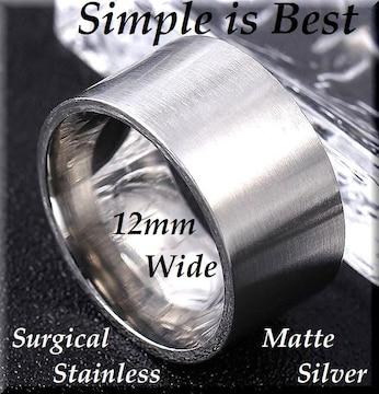 20号/幅12mm/平型リング指輪/ステンレス/シルバー/ペアにもsur01