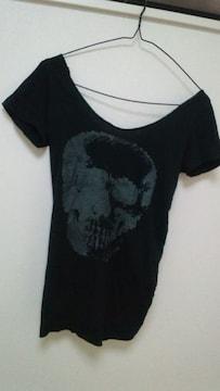 U.D.A.スカル背中クロスリボンガン開き半袖Tシャツ黒d.i.a.安室倖田系