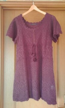natural couture*透かし編み*ニットワンピ ポンポン