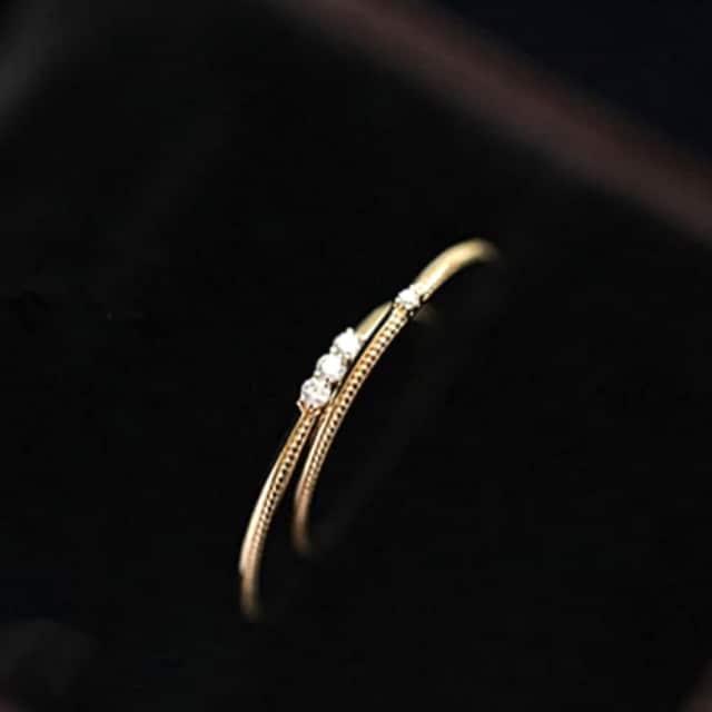 ◆ ゴールド シンプル ダイアモンド リング 19号 新品