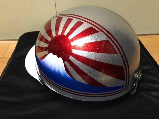 ラメ 富士日章 コルク半 ヘルメット BEET カバー 三段シート < 自動車/バイク