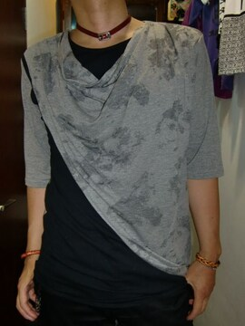 BERNINGS sho☆すかしドレープネック5分袖Tシャツ☆グレーL