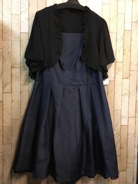 新品☆17号♪紺色のシャンタンワンピース♪ボレロ付s802  < 女性ファッションの