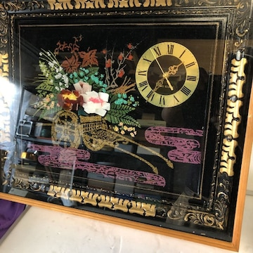貴重高級な宝石画の出品!昭和レトロな宝石画時計56cm×49cm