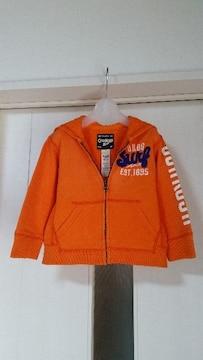 OSHKOSH  オシュコシュ スウェットパーカー ウオッシュ加工 90   オレンジ
