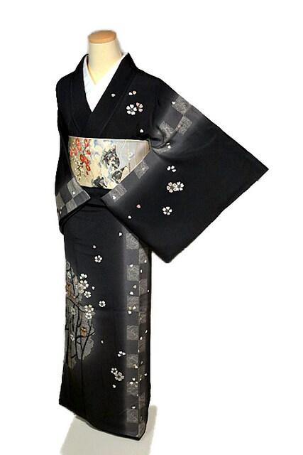 【最高級】新品同様 金駒刺繍 枝桜にフクロウ親子 訪問着 T1981  < 女性ファッションの