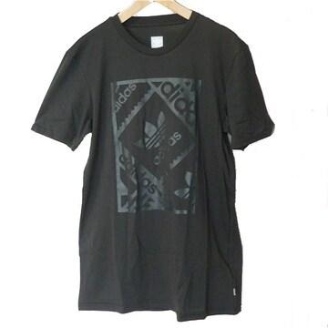 新品◆送料無料◆adidasoriginals黒スタンプロゴTシャツ(О)(XL)