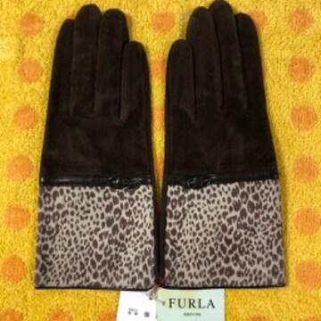 フルラ スェード豚皮革手袋ブラウンMサイズ