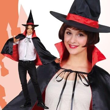 ハロウィン コスプレ ホラー 衣装 魔女 魔法使い 大人 帽子 マント 黒赤