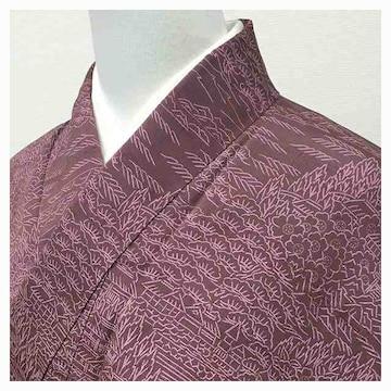 美品 特選 小紋 正絹 身丈158 裄63(紫)袷 花・松模様