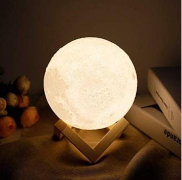 ★送料無料★ 月のランプ 間接照明 8cm タッチ式 台座付