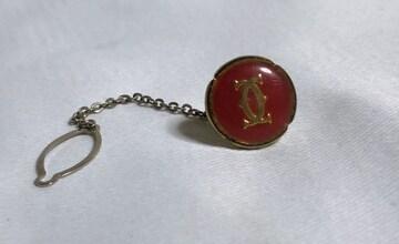 正規 カルティエCartier 2Cロゴ ネクタイピン ゴールド×赤 タイタニックタイピン ブローチ