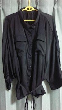 新品★大きめサイズ★ドルマン袖ブラウス★羽織りにも★黒★
