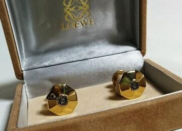 正規 ロエベLOEWE アマソナ アナグラム ロゴカフスSV925 ゴールド×黒 多角形ボタン