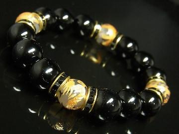 四神獣 ドラゴンアゲート ブラックオニキス ブレスレット 10ミリ 数珠 開運