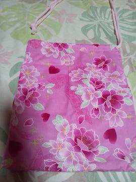 ☆新品ピンク×桜レースハートラメ柄ナナメ掛巾着袋