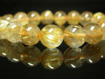 金銭を呼び込むパワーストーン タイチンルチルクォーツブレスレット 10mm数珠