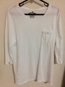 ホワイト カットソー メンズ ポケット付き Mサイズ