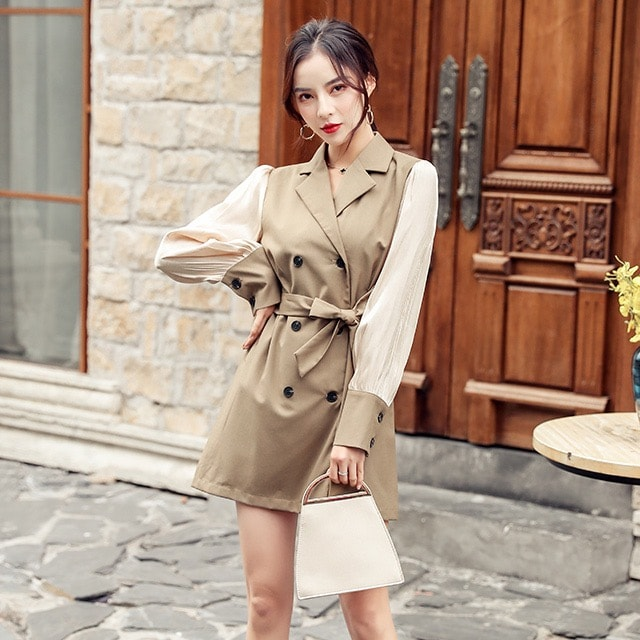大きいサイズ☆袖異素材トレンチコート2L3L4L5L☆C00587 < 女性ファッションの