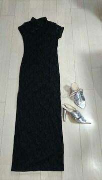 ロングチャイナドレス ブラック 薔薇柄レース