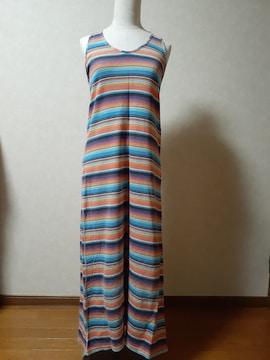 チチカカ・マキシワンピース・カラフルボーダー