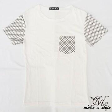 スリーブ&ポケット アーガイル プリント Tシャツ TEE 半袖 69M