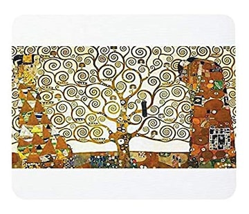 グスタフ・クリムト『 生命の樹 』のマウスパッド (白地)