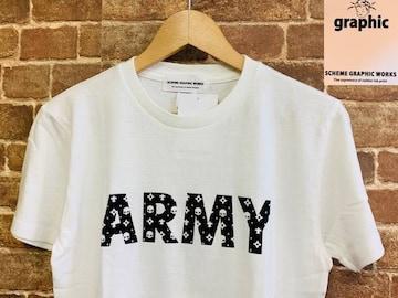 表記S/新品!スキームグラフィックワークス 白 スカル ARMY ミリタリー Tシャツ ロック サーフ