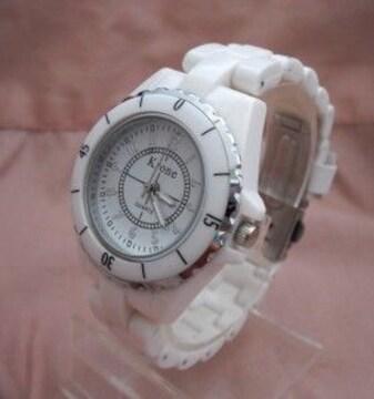 ホワイトプラベルトウォッチWH-レディース腕時計