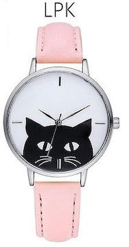 ★黒猫モノトーンシンプルレディース腕時計★LPK