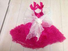 ピンクのドレス  ストール付き   110-120サイズ