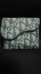 Christian Dior二つ折財布トロッター柄ネイビー