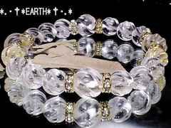 天然石★大きめサイズ人気ツイスト螺旋彫り水晶金色ロンデル数珠