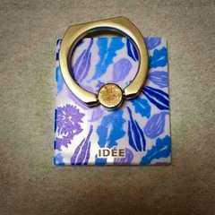 定形外込。十六茶×IDEE・植物柄スマホリング。ブルー