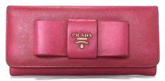 正規プラダ長財布リボンサフィアーノ1M1132ピンクファスナー付型押しレザーPRADA