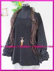 春夏新作◆大きいサイズ4Lブラック×ドット柄◆ボリューム袖チュニック