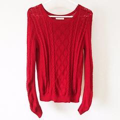 フェリシモ 綿100%で静電気の起きにくい コットンニットセーター 赤ダークレッドMサイズ