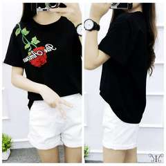 965339 大きいサイズバラ刺繍 薔薇 花柄 Tシャツ5L
