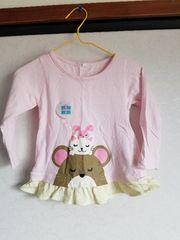 ピンクにクマ、ネコ、うさぎの長袖Tシャツ90