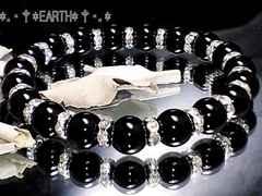 天然石★8ミリ高級黒瑪瑙AAAオニキス&銀色ロンデル数珠