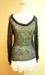 Britney…ベル袖モヘアのザグ編み透しニット☆3点で即落☆